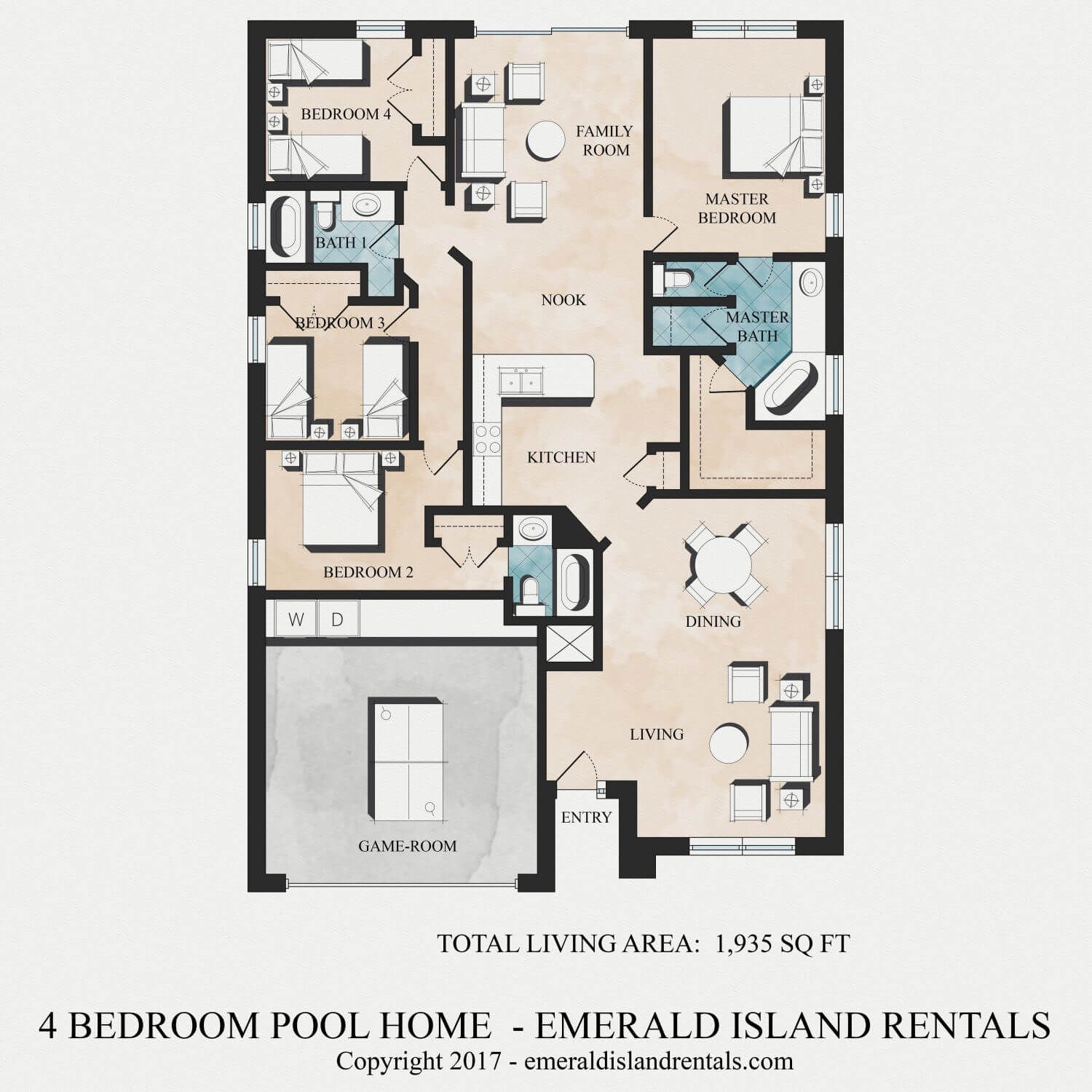 Emerald Island 4 bed villa floor plan