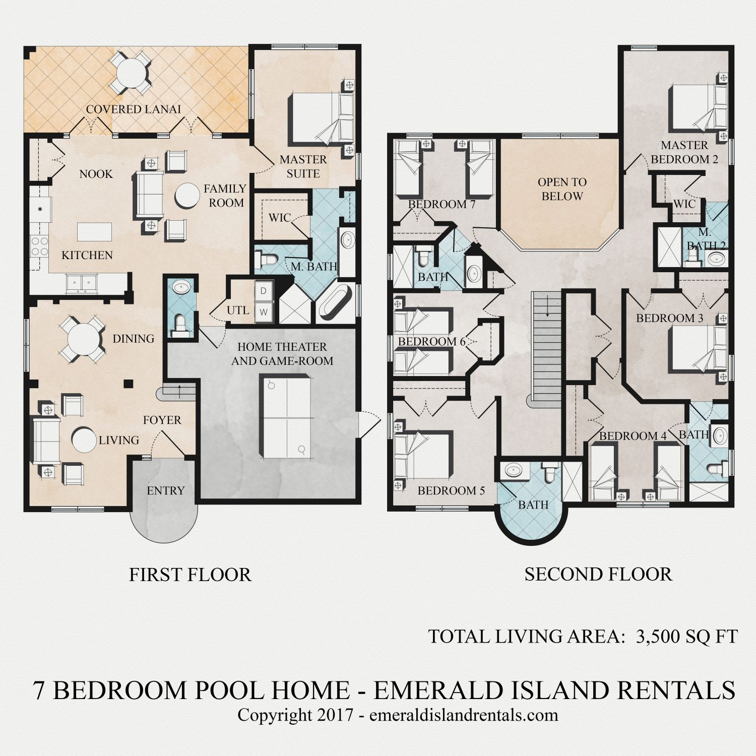 Floor plan of Dory's Magic 7 bed villa
