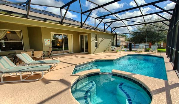 Pool and spa area, there is also a lanai if you prefer the shade