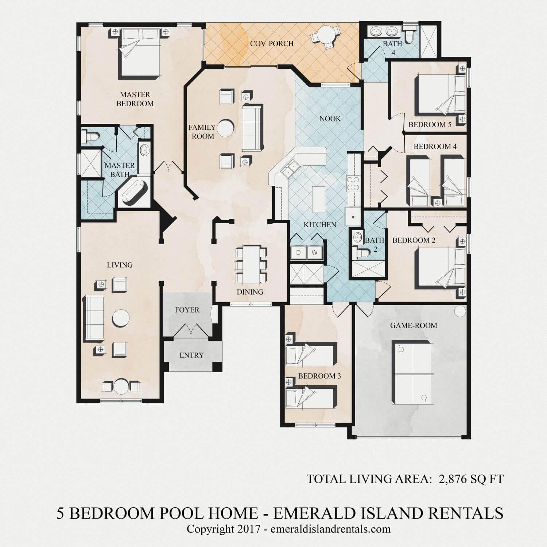 Floor Plan Of Emerald Island Orlando 5 Bed Villa Nemo S