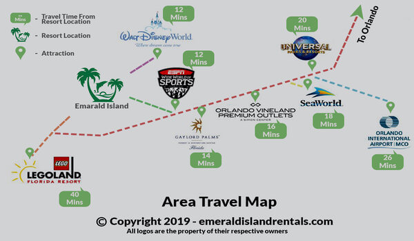 Emerald Island Resort and area attraction map