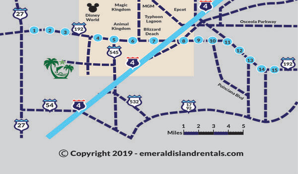 Emerald Island Resort in Florida and Disney World Orlando area map