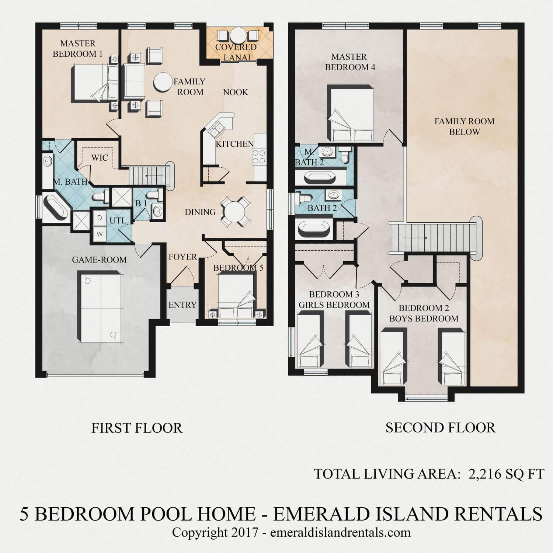 Emerald Island 5 bed villa floor plan