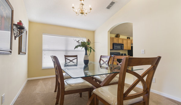 The formal dining area is easily acceesible from the kitchen
