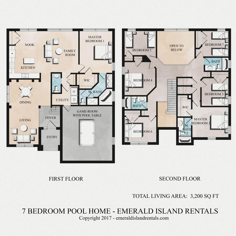 Plan 66342we 3 Bed Beauty With 2 Lanai: Floor Plan Of Emerald Island Orlando 7 Bed Villa
