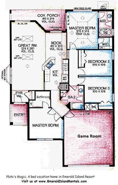 Emerald island 4 bed vacation home floor plan for Emerald homes floor plans
