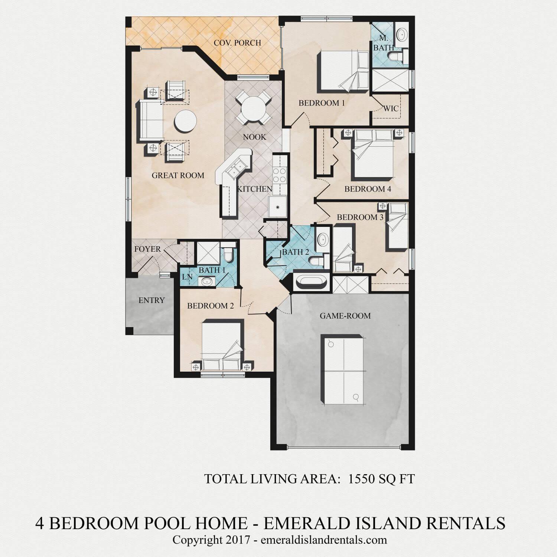 Emerald Island 4 bed villa floor plan