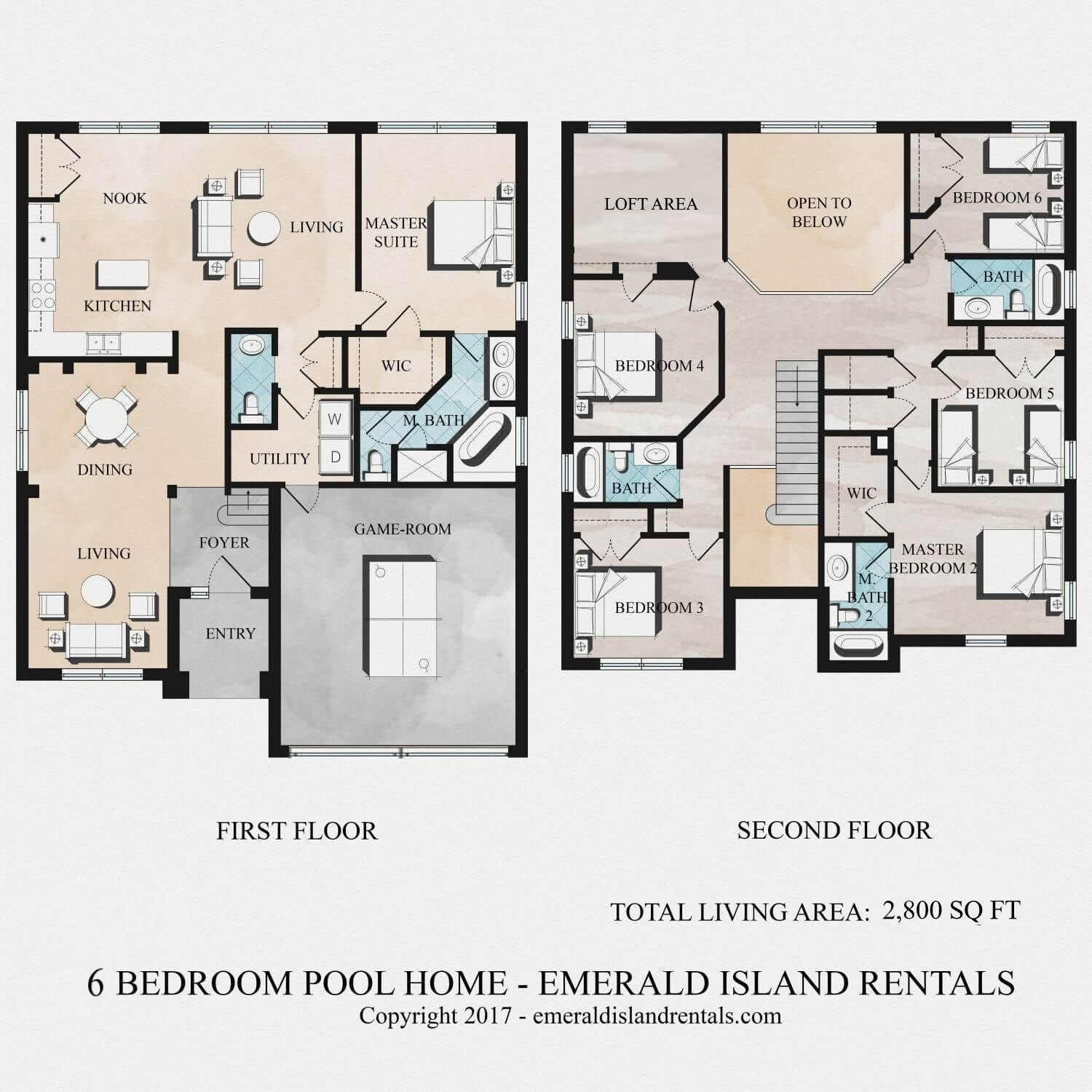 Emerald Island 6 bed villa floor plan