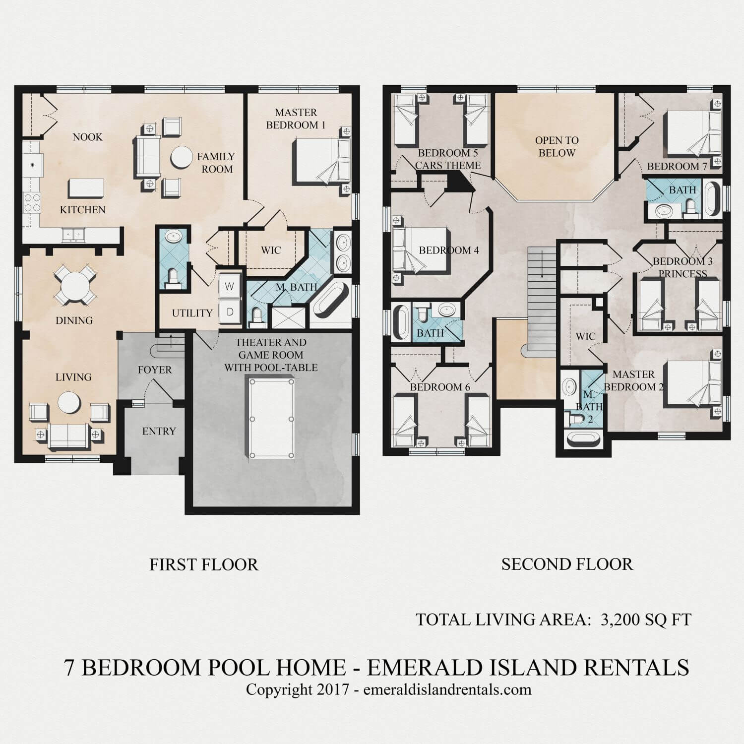 Floor plan of Simba's Magic 7 bed villa