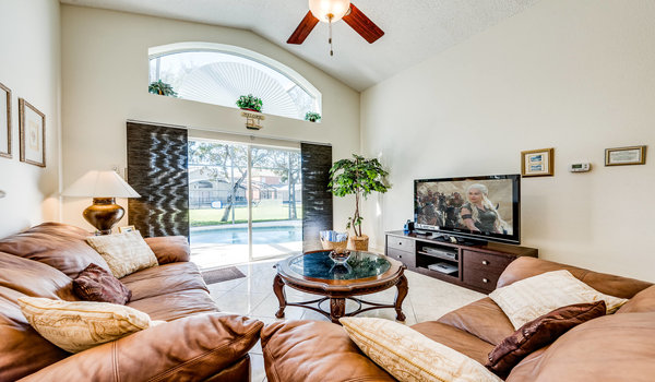 Family room leads to the private pool