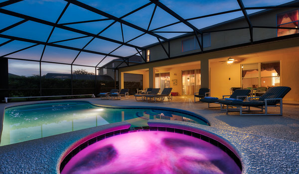 Pool at night with color changing lights