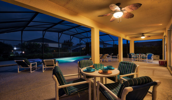 Pool deck area at night
