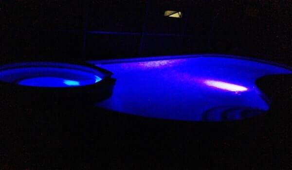 Pool at night - Color changing pool and spa