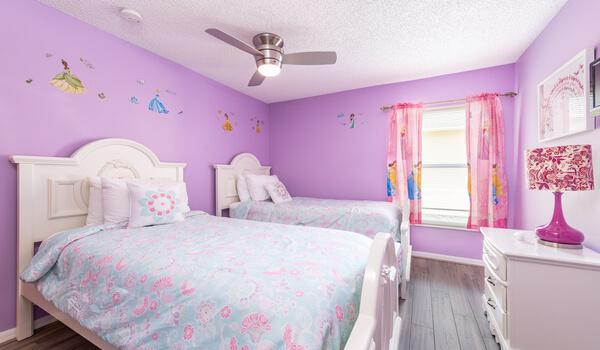 Bedroom #3: This girls bedroom has two twin beds