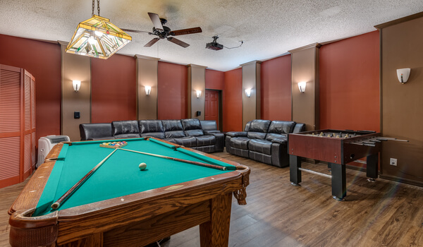 Slate bed pool table in the theater/game-room