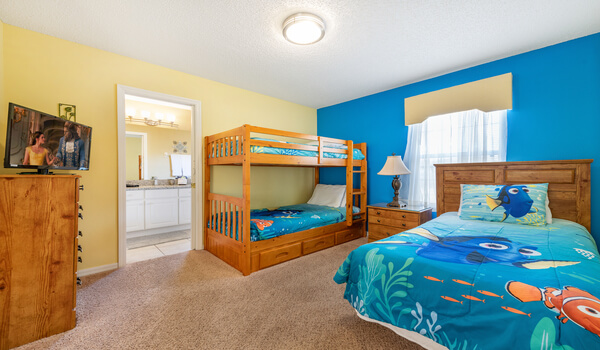Bedroom #4: Dory themed bedroom with twin-twin bunk bed and a twin bed
