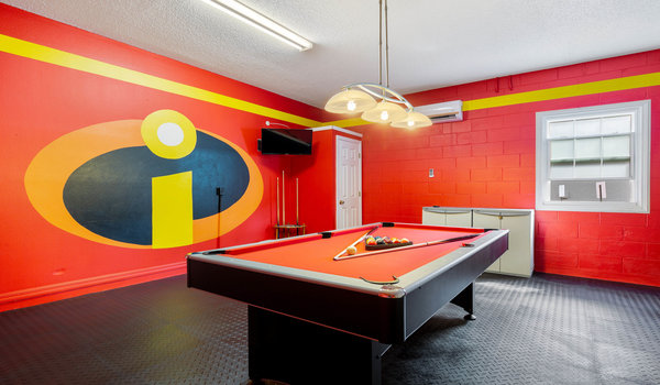 Game-room: Has a pool table and foosball table