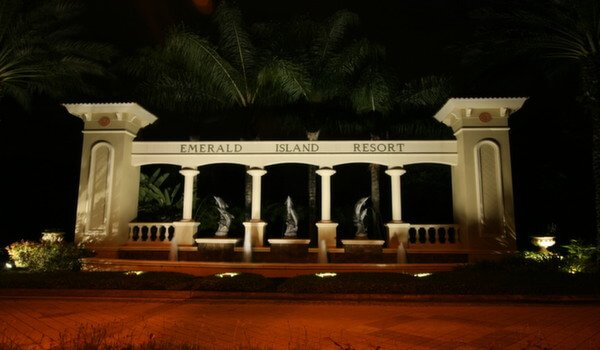 Entrance at night time