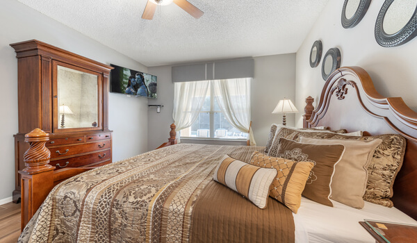 Relax or watch a movie in this spacious bedroom