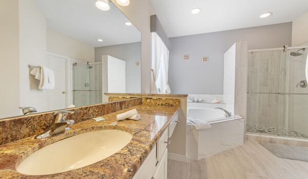 First floor master bath - Tub, dual sinks, toilet and shower
