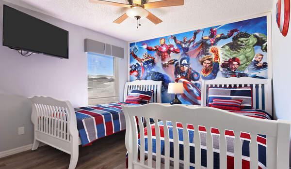 Kids bedroom #2 - Beach Themed bedroom has two twin beds